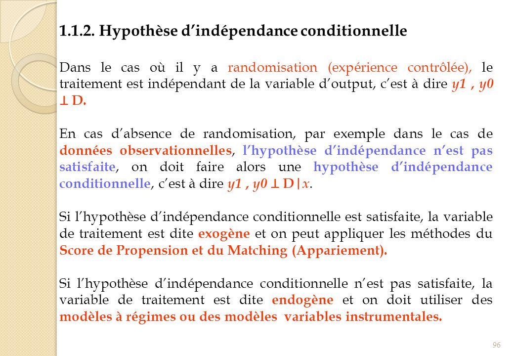 1.1.2. Hypothèse d'indépendance conditionnelle