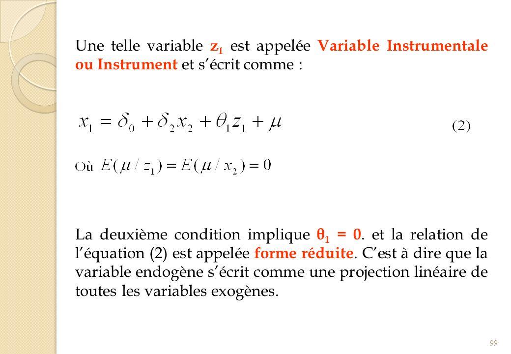 Une telle variable z1 est appelée Variable Instrumentale ou Instrument et s'écrit comme :