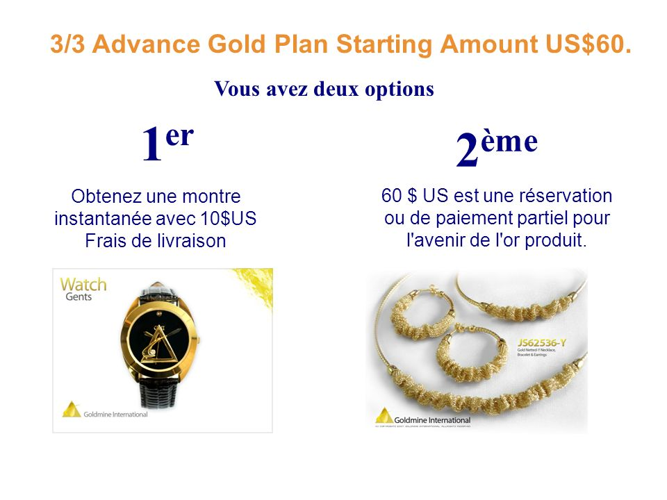 3/3 Advance Gold Plan Starting Amount US$60.