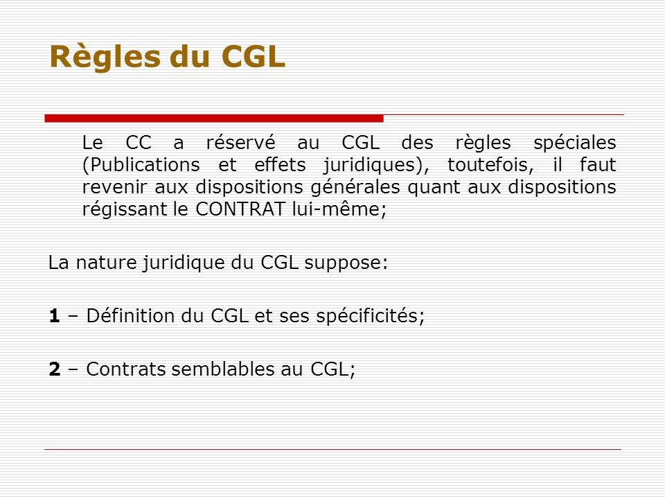 Règles du CGL