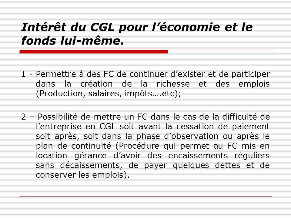 Intérêt du CGL pour l'économie et le fonds lui-même.