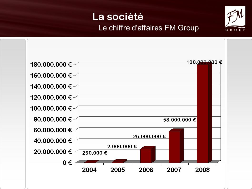 Le chiffre d'affaires FM Group