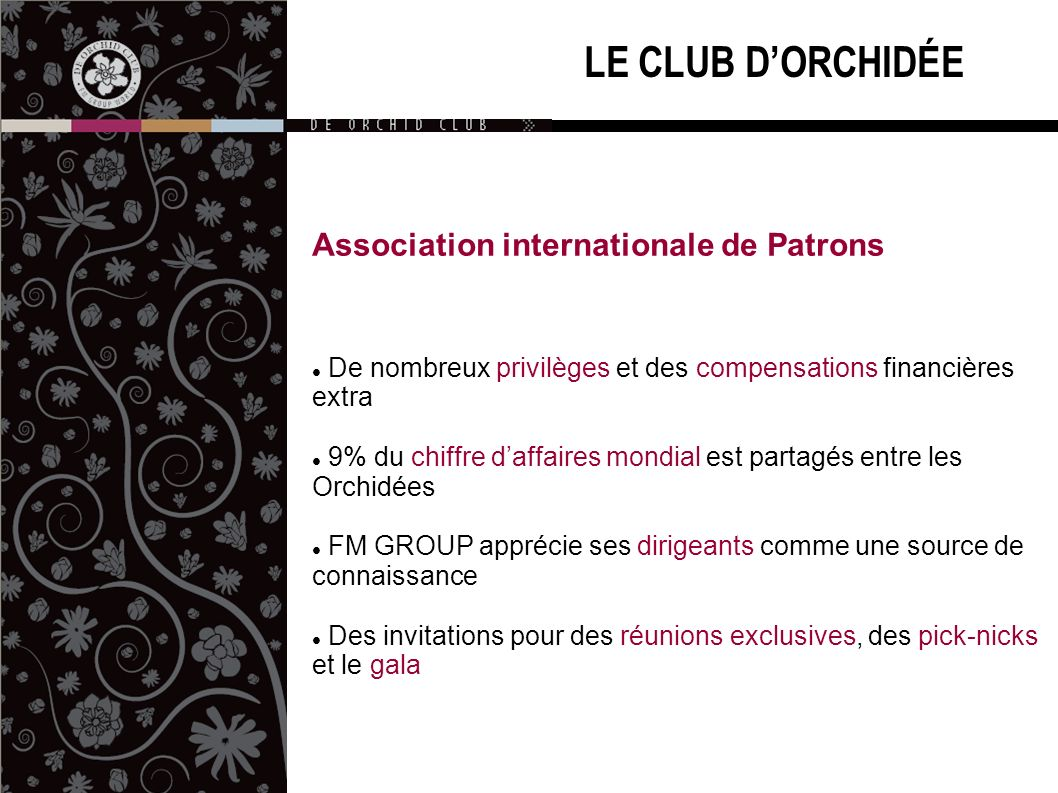 LE CLUB D'ORCHIDÉE Association internationale de Patrons