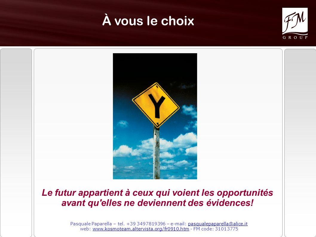 À vous le choix Le futur appartient à ceux qui voient les opportunités