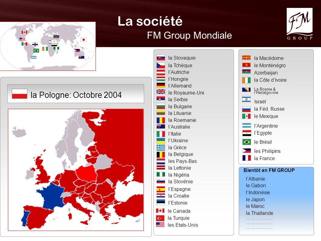 La société FM Group Mondiale Octobre 2004 la Pologne: la Slovaquie