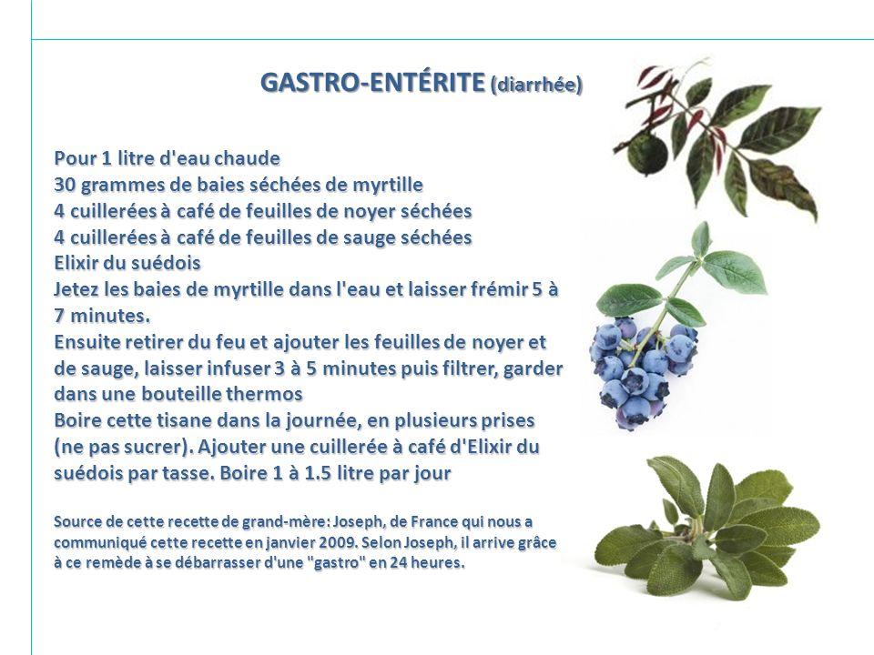 GASTRO-ENTÉRITE (diarrhée)