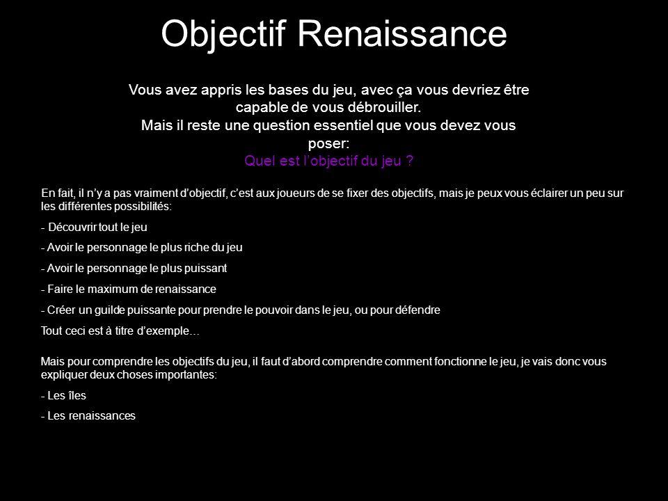 Objectif Renaissance Vous avez appris les bases du jeu, avec ça vous devriez être capable de vous débrouiller.