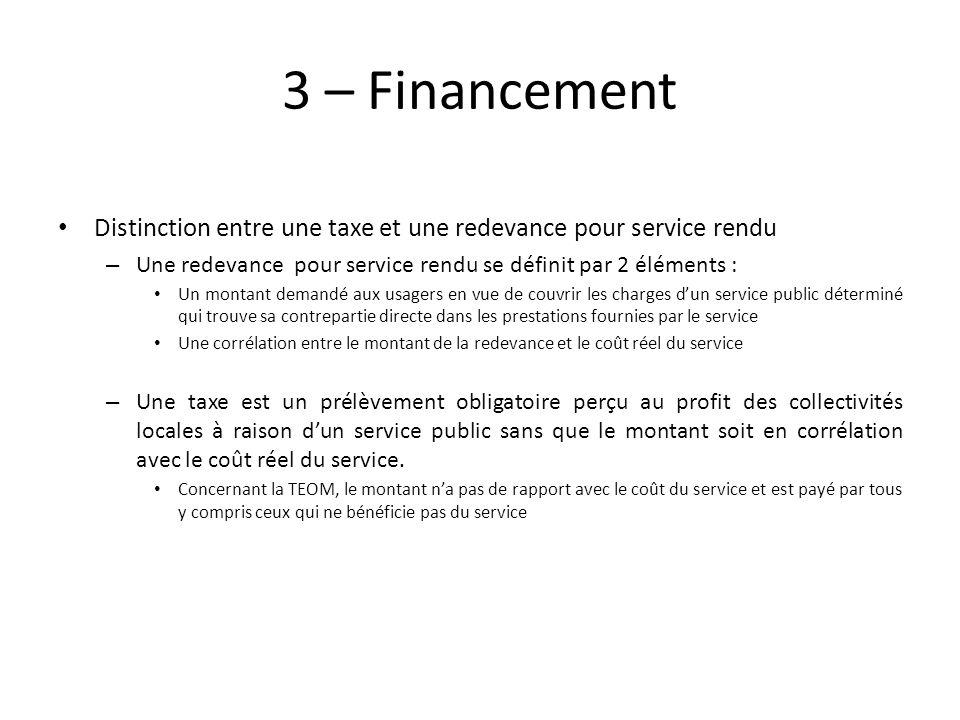 3 – Financement Distinction entre une taxe et une redevance pour service rendu. Une redevance pour service rendu se définit par 2 éléments :