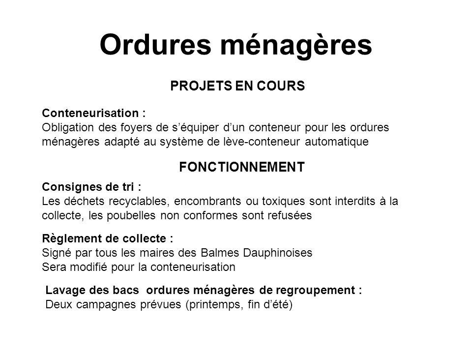 Ordures ménagères PROJETS EN COURS FONCTIONNEMENT Conteneurisation :