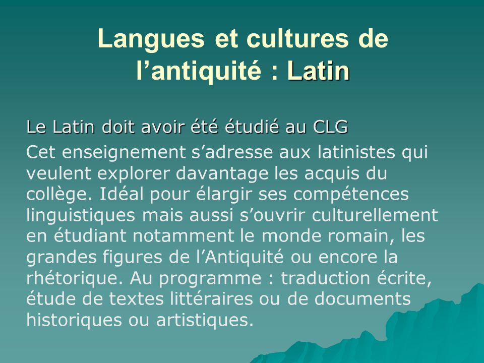 Langues et cultures de l'antiquité : Latin