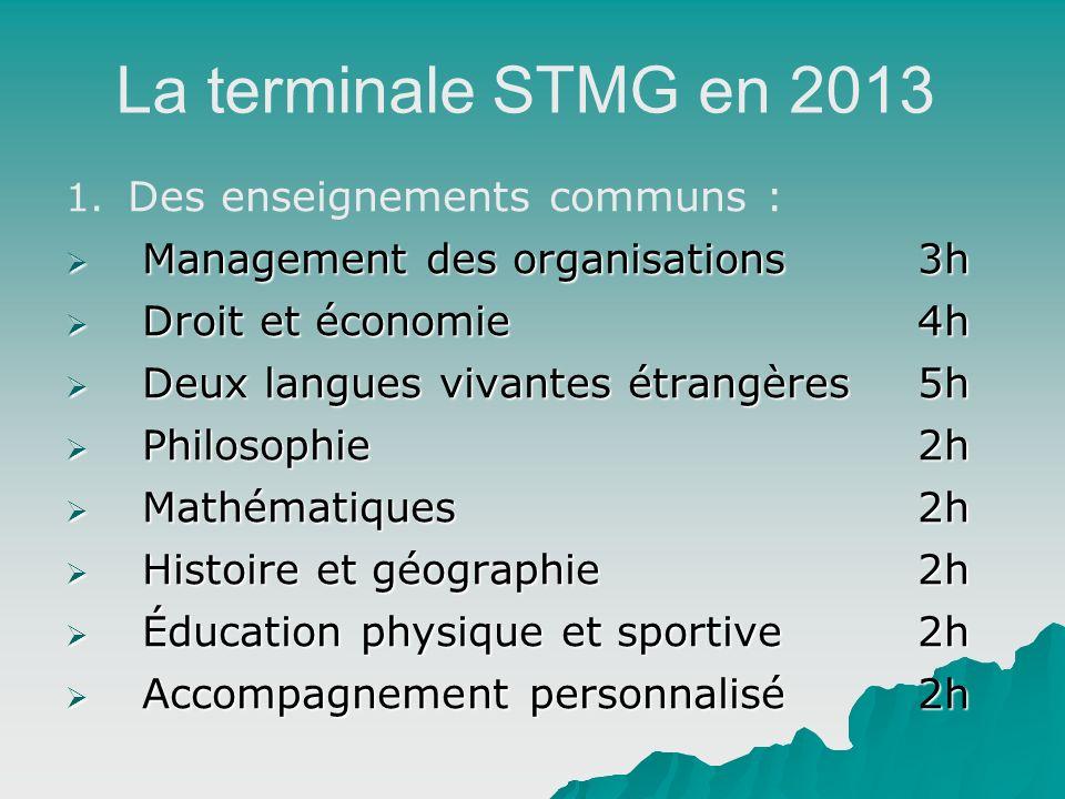 La terminale STMG en 2013 Des enseignements communs :