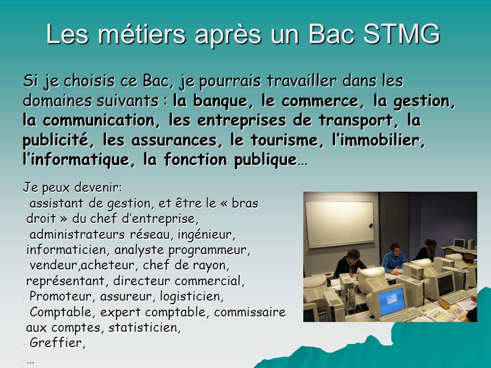 Les métiers après un Bac STMG