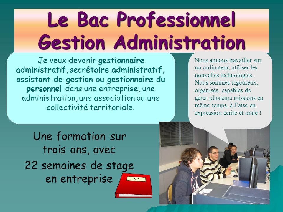 Le Bac Professionnel Gestion Administration