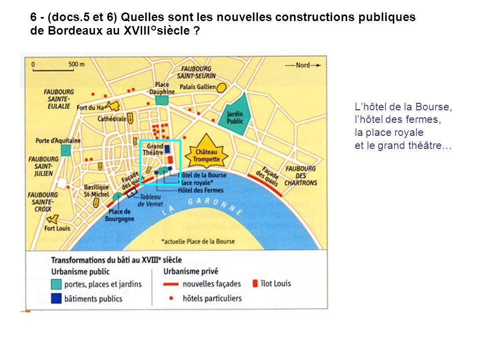 6 - (docs.5 et 6) Quelles sont les nouvelles constructions publiques de Bordeaux au XVIII°siècle