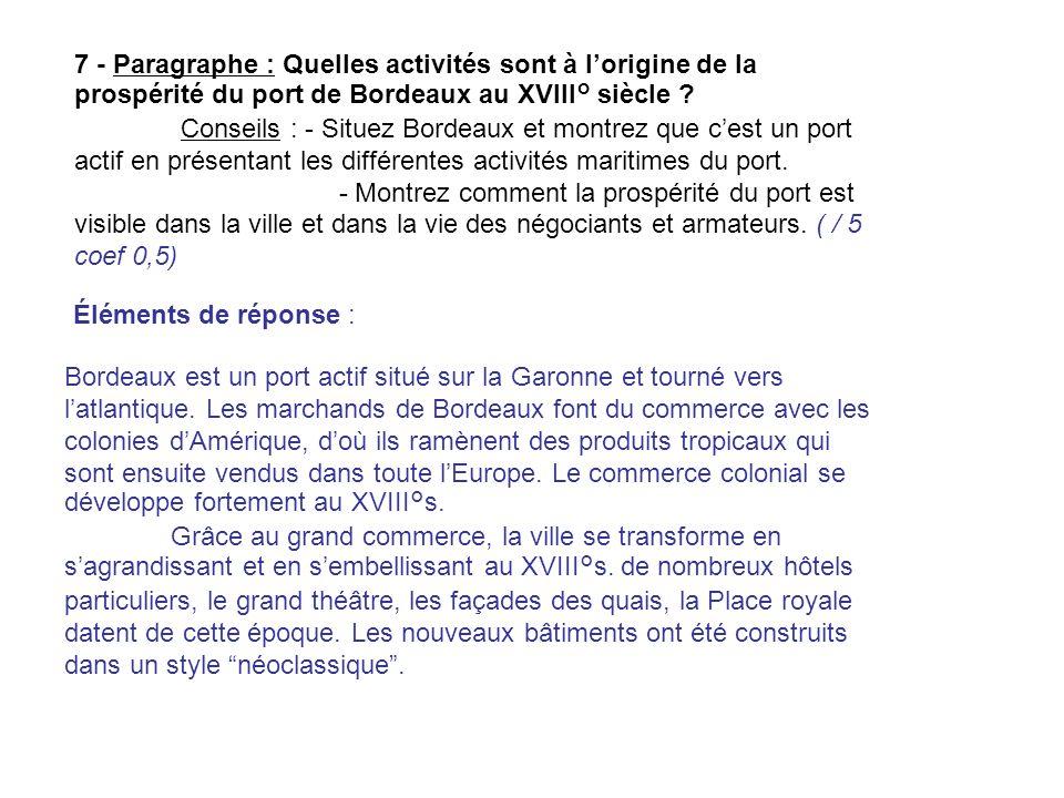 7 - Paragraphe : Quelles activités sont à l'origine de la prospérité du port de Bordeaux au XVIII° siècle