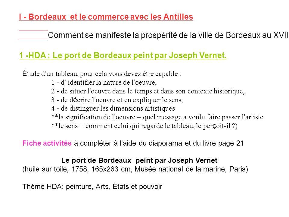 I - Bordeaux et le commerce avec les Antilles