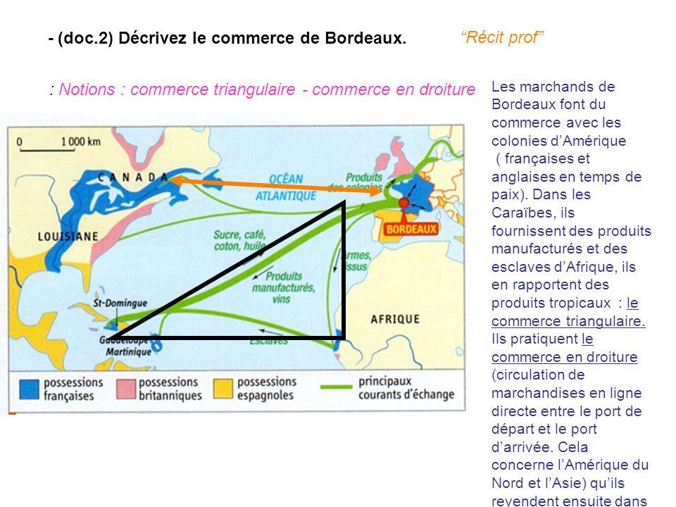 - (doc.2) Décrivez le commerce de Bordeaux. Récit prof