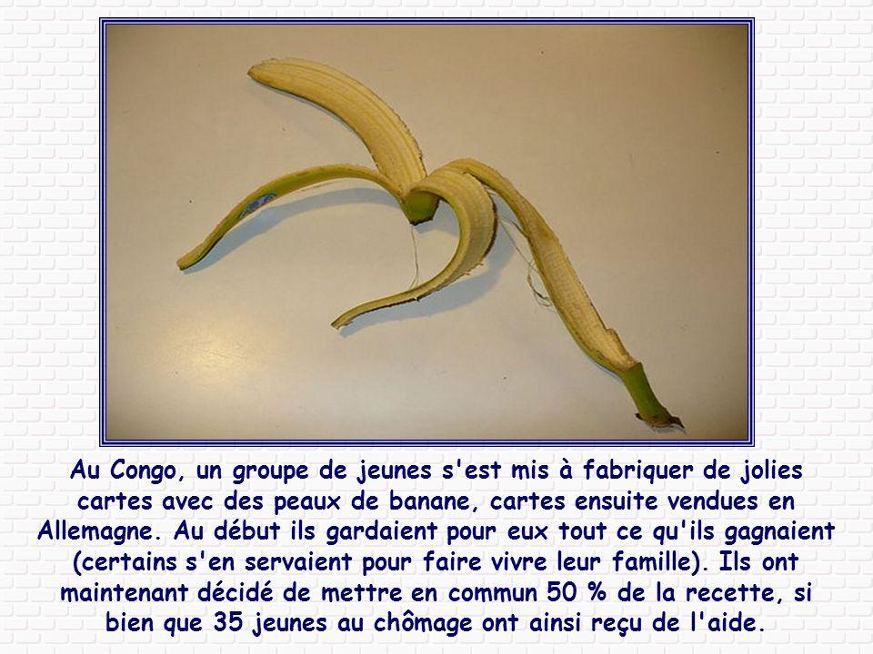 Au Congo, un groupe de jeunes s est mis à fabriquer de jolies cartes avec des peaux de banane, cartes ensuite vendues en Allemagne.