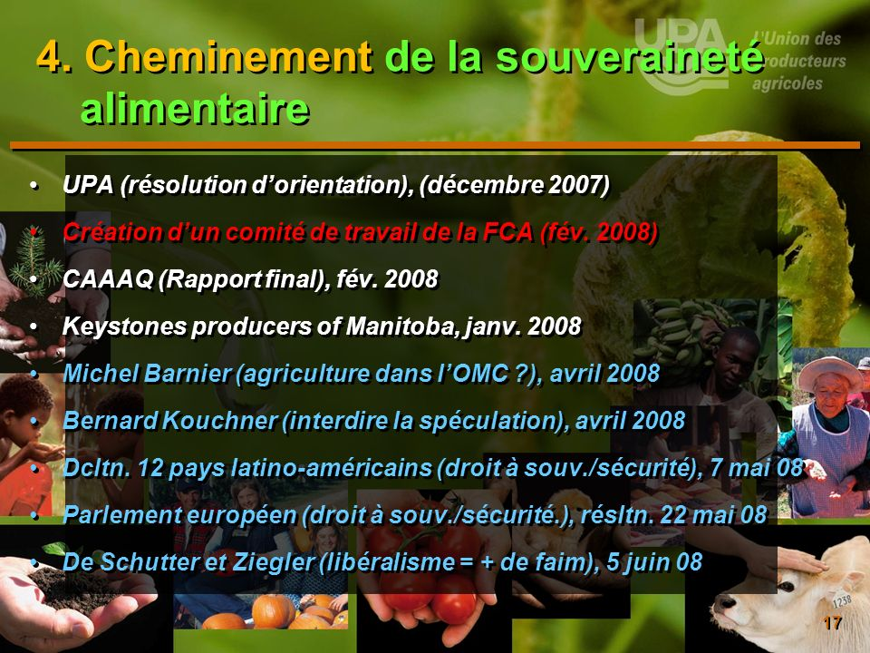 4. Cheminement de la souveraineté alimentaire