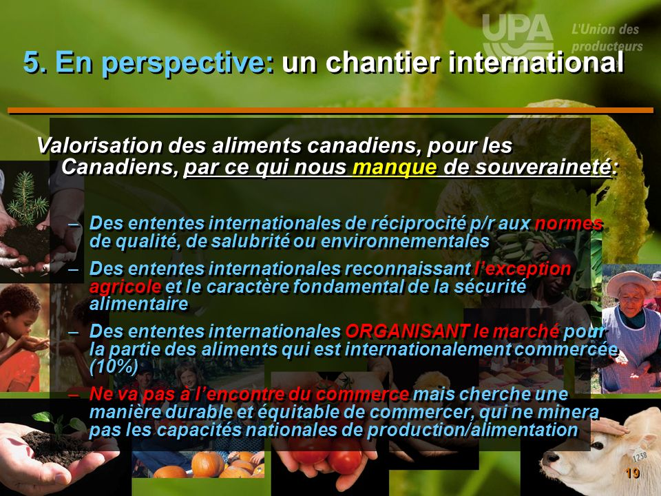 5. En perspective: un chantier international