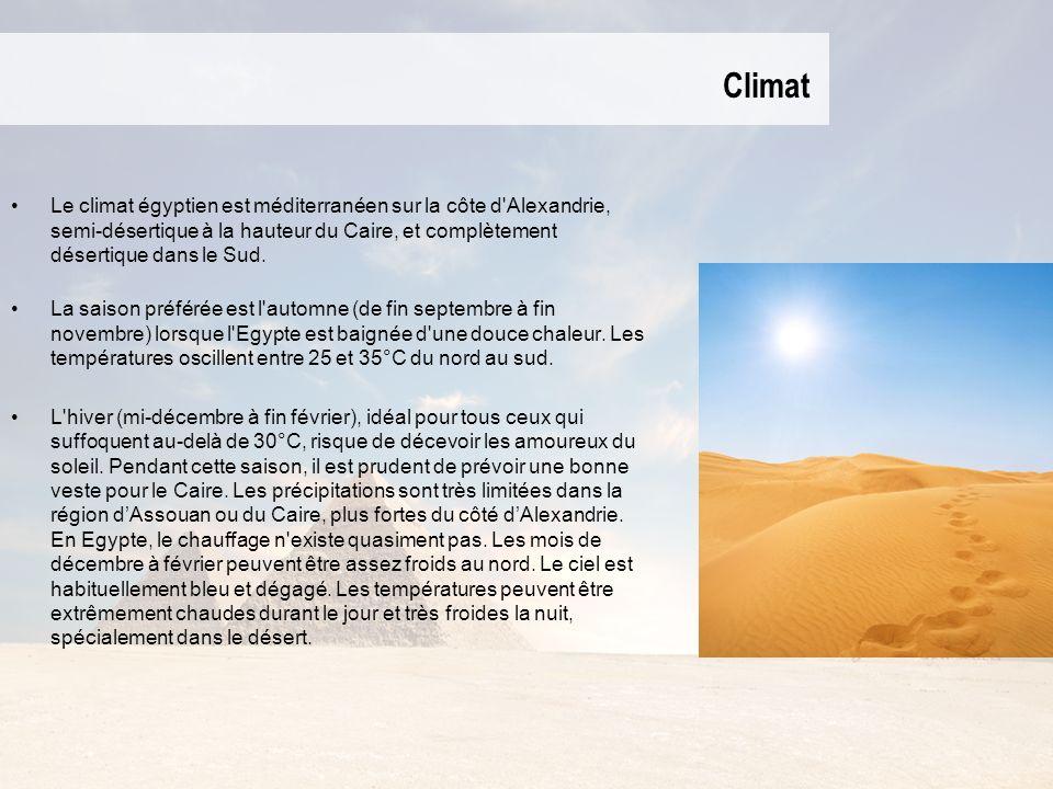 Climat Le climat égyptien est méditerranéen sur la côte d Alexandrie, semi-désertique à la hauteur du Caire, et complètement désertique dans le Sud.