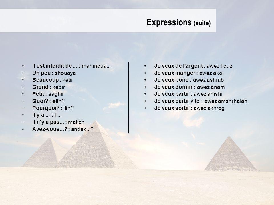 Expressions (suite) Il est interdit de ... : mamnoua...
