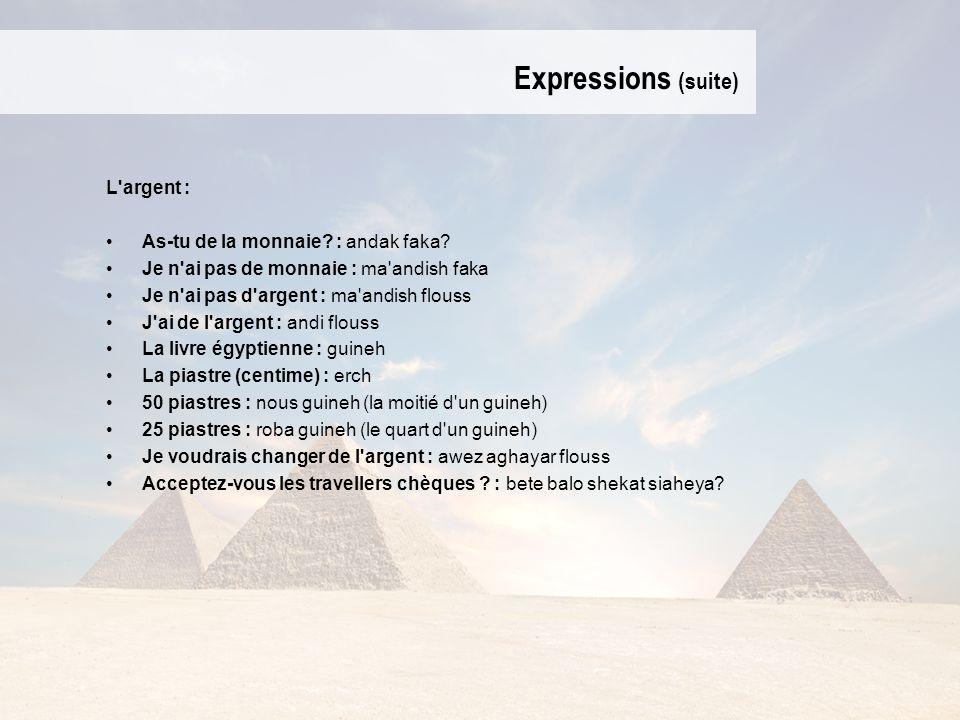 Expressions (suite) L argent : As-tu de la monnaie : andak faka