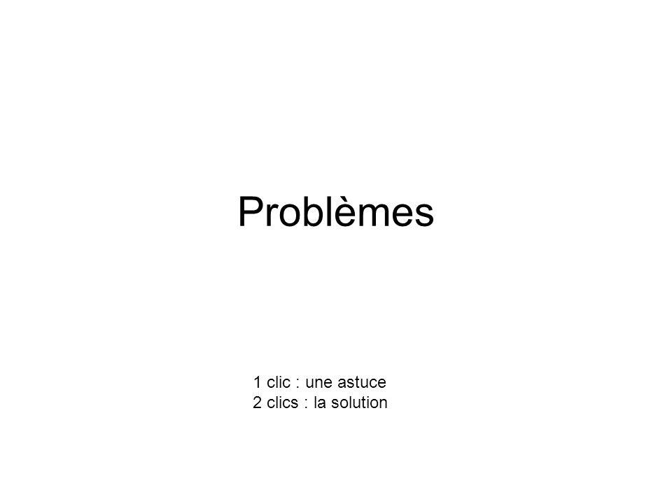 Problèmes 1 clic : une astuce 2 clics : la solution