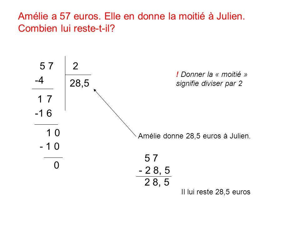 Amélie a 57 euros. Elle en donne la moitié à Julien