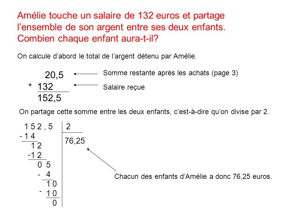 Amélie touche un salaire de 132 euros et partage l'ensemble de son argent entre ses deux enfants. Combien chaque enfant aura-t-il