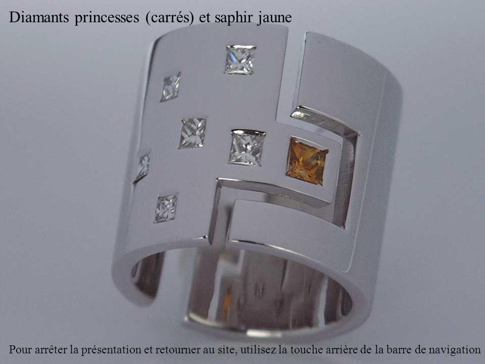 Diamants princesses (carrés) et saphir jaune