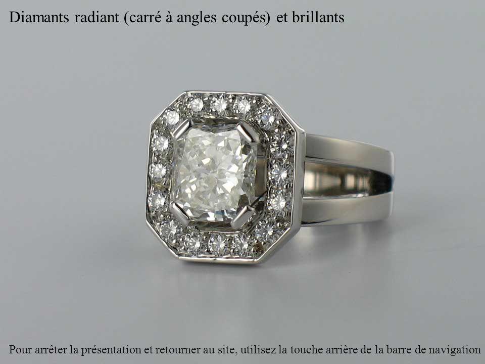Diamants radiant (carré à angles coupés) et brillants