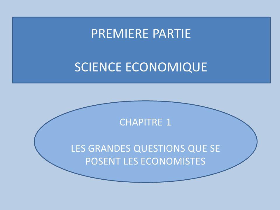 LES GRANDES QUESTIONS QUE SE POSENT LES ECONOMISTES
