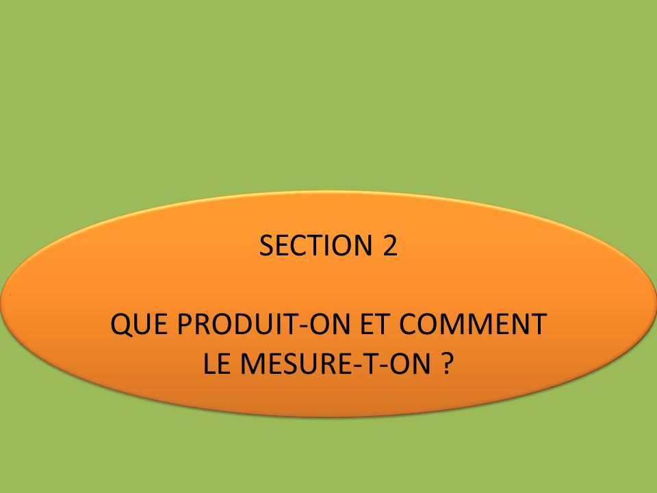 QUE PRODUIT-ON ET COMMENT LE MESURE-T-ON