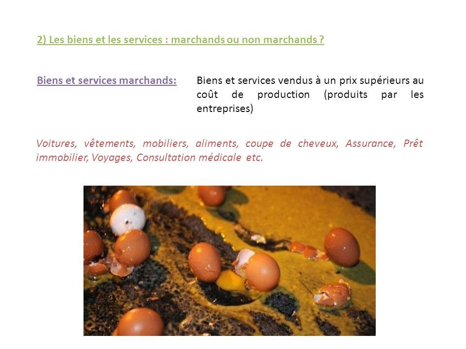 2) Les biens et les services : marchands ou non marchands