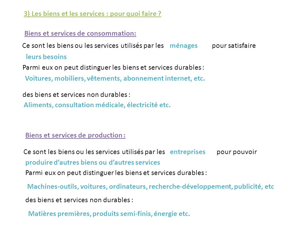 3) Les biens et les services : pour quoi faire
