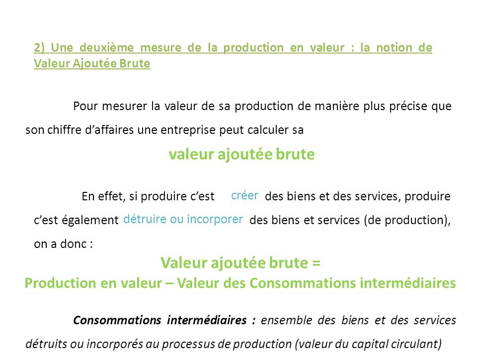 Production en valeur – Valeur des Consommations intermédiaires