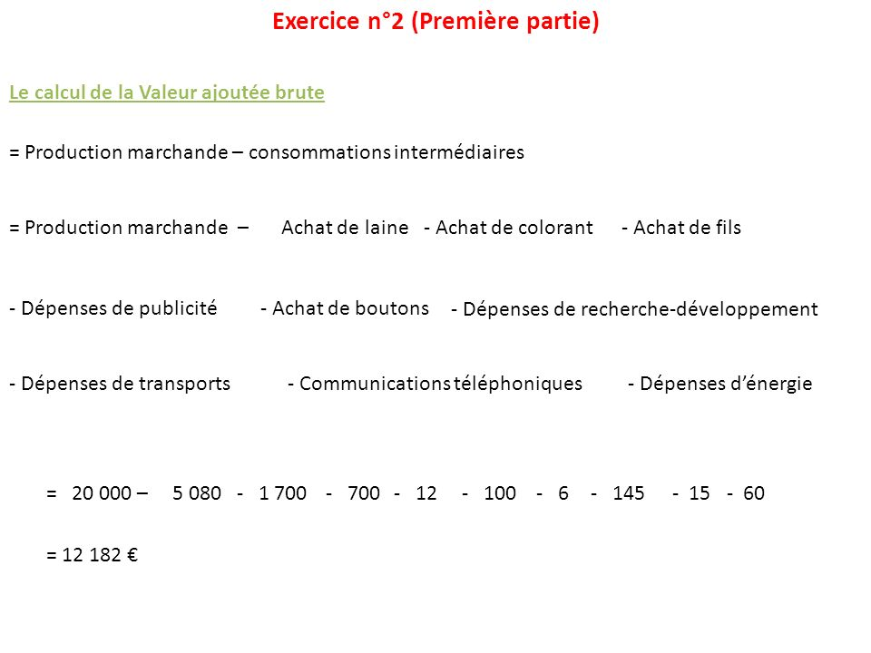 Exercice n°2 (Première partie)