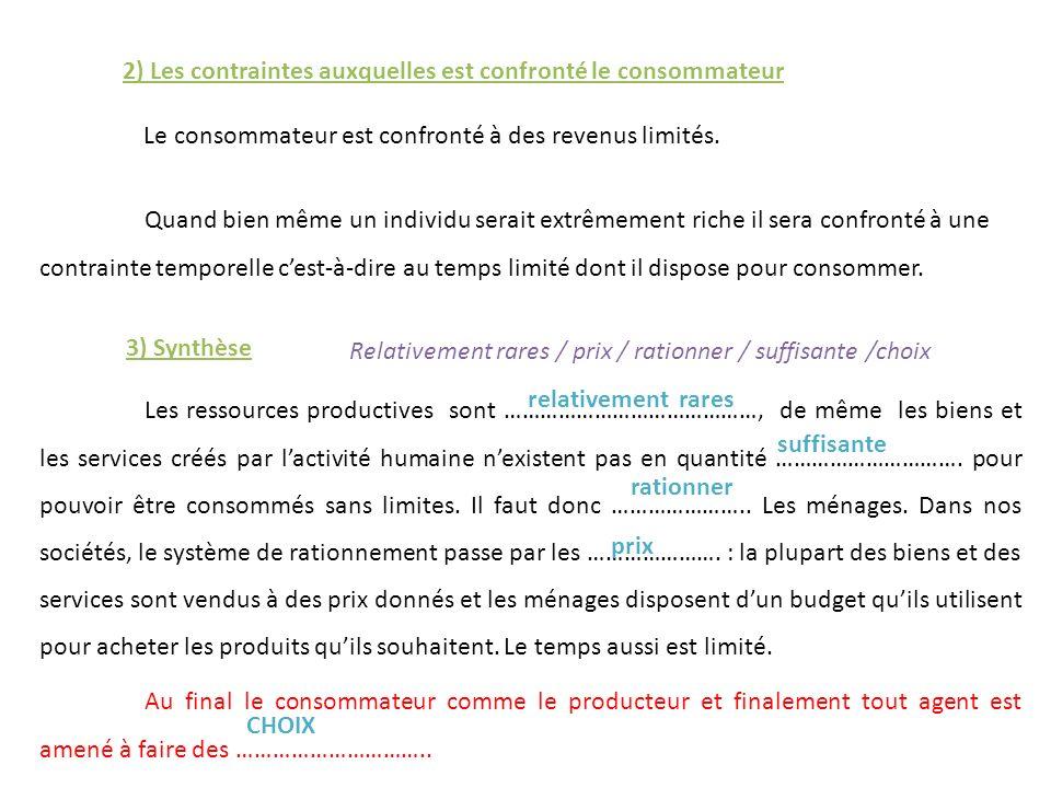 2) Les contraintes auxquelles est confronté le consommateur