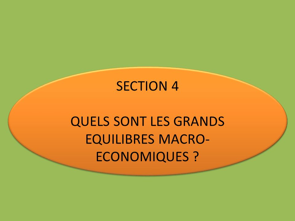 QUELS SONT LES GRANDS EQUILIBRES MACRO-ECONOMIQUES