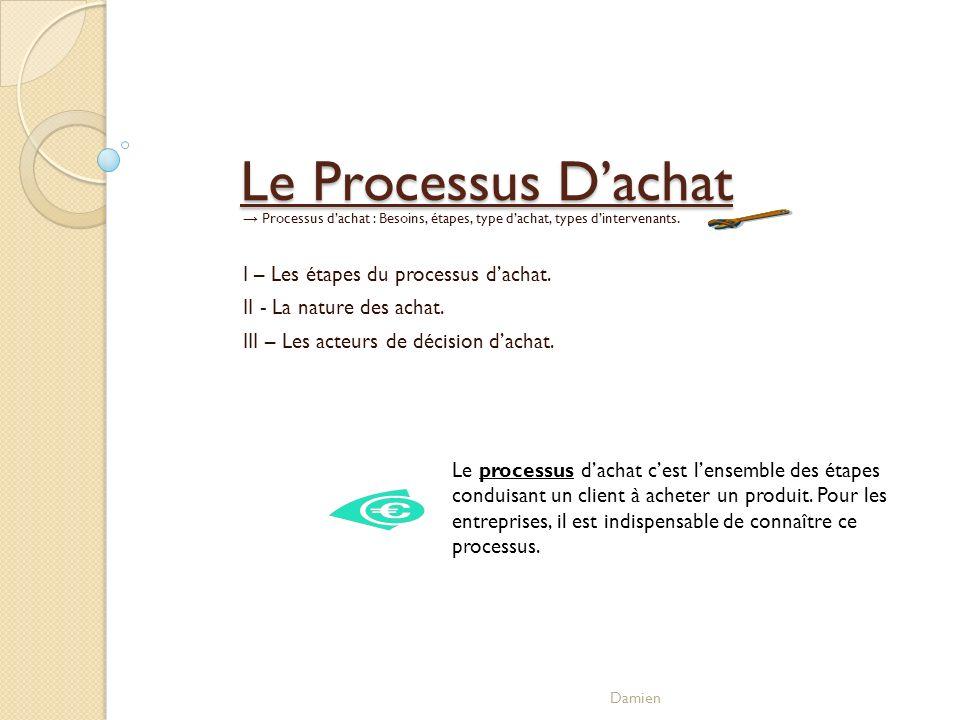 Le Processus D'achat I – Les étapes du processus d'achat.
