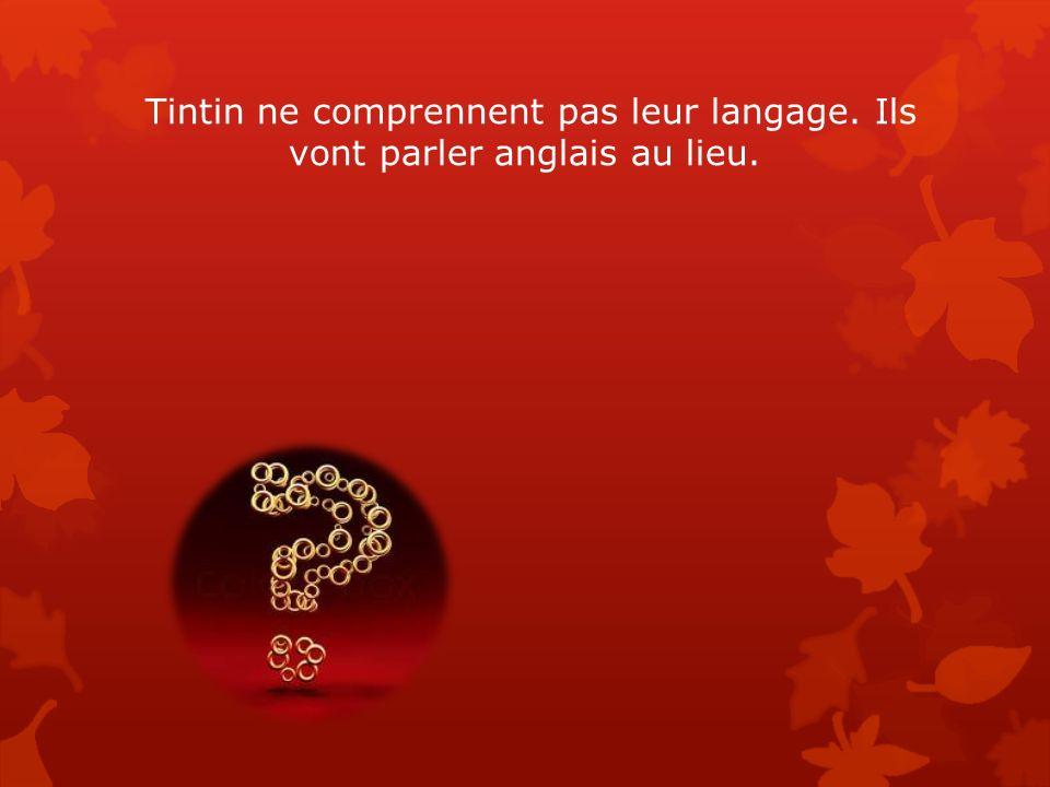 Tintin ne comprennent pas leur langage. Ils vont parler anglais au lieu.