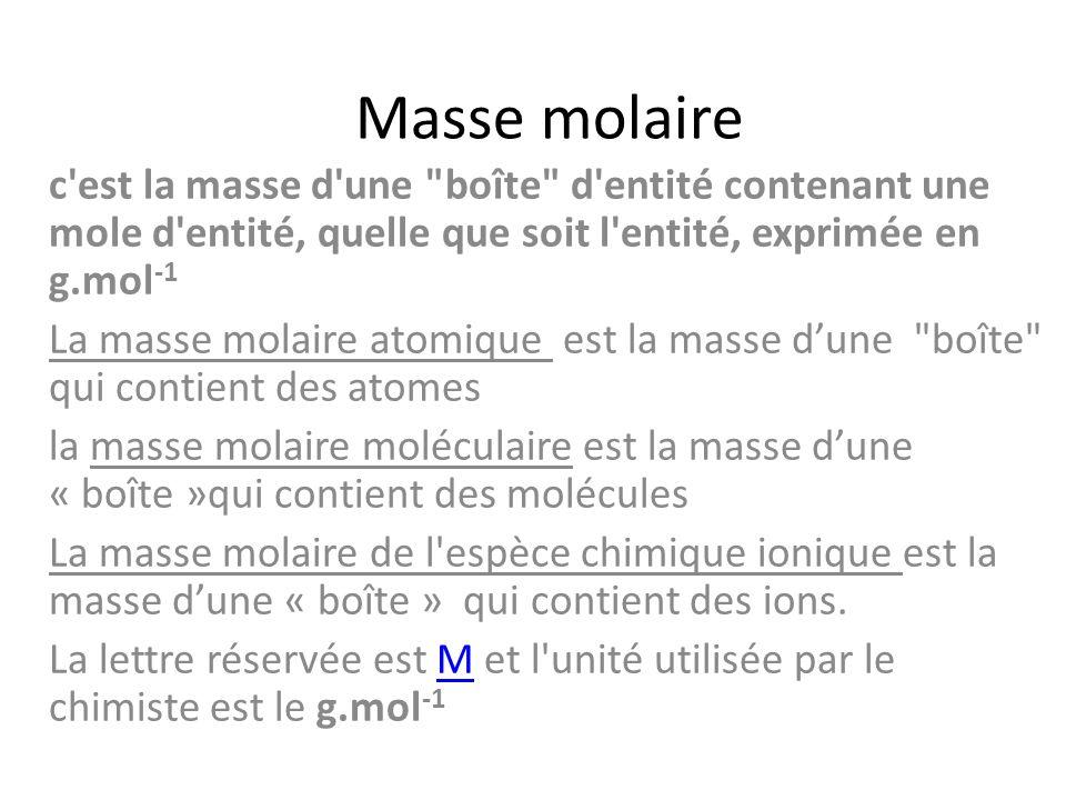 Masse molaire c est la masse d une boîte d entité contenant une mole d entité, quelle que soit l entité, exprimée en g.mol-1.