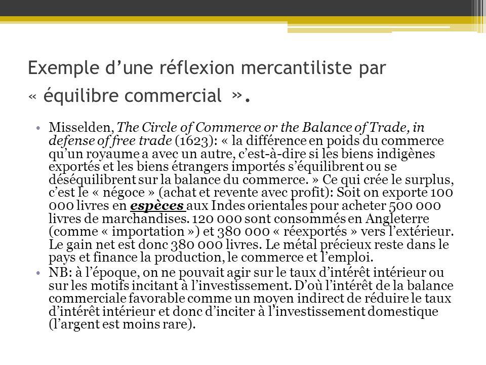 Exemple d'une réflexion mercantiliste par « équilibre commercial ».