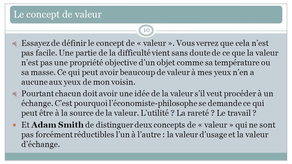 Le concept de valeur