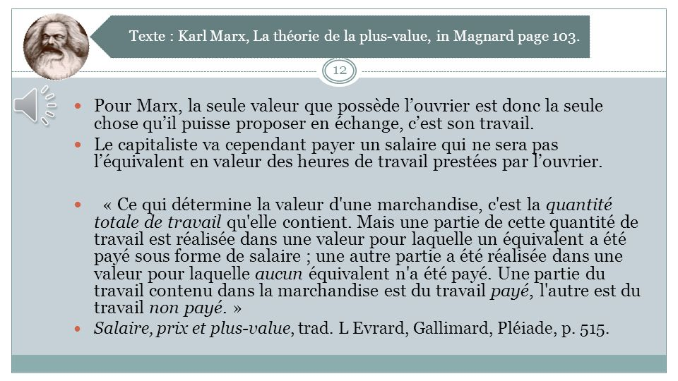 Texte : Karl Marx, La théorie de la plus-value, in Magnard page 103.
