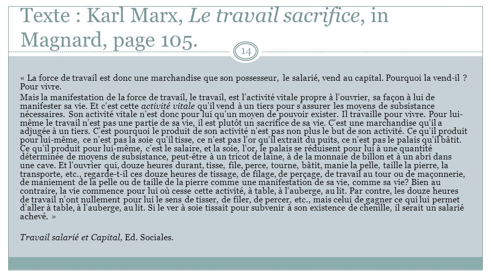 Texte : Karl Marx, Le travail sacrifice, in Magnard, page 105.