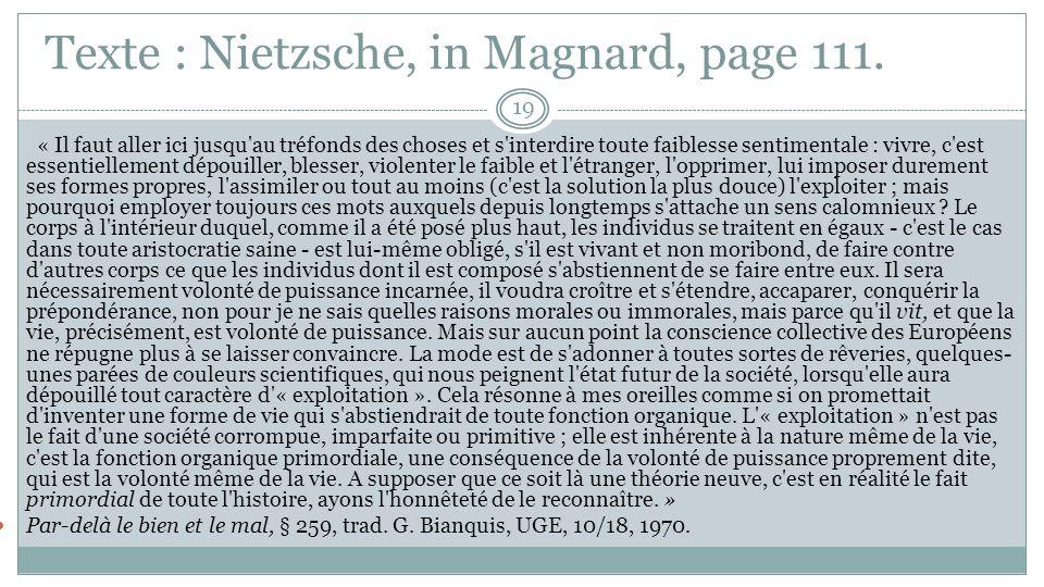 Texte : Nietzsche, in Magnard, page 111.