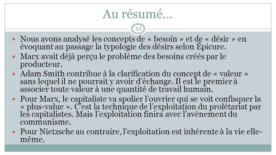 Au résumé… Nous avons analysé les concepts de « besoin » et de « désir » en évoquant au passage la typologie des désirs selon Épicure.