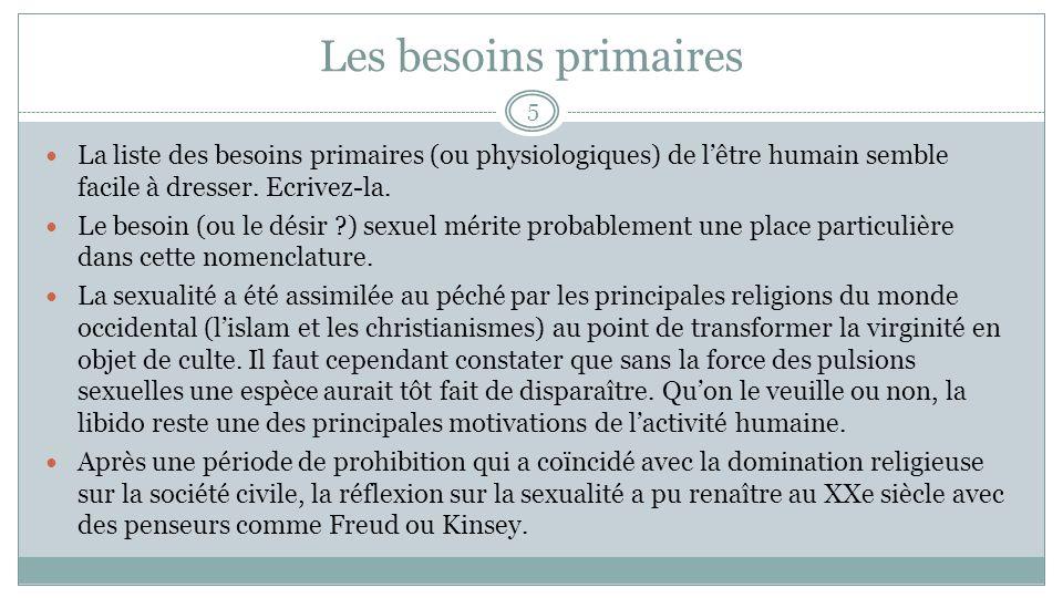 Les besoins primaires La liste des besoins primaires (ou physiologiques) de l'être humain semble facile à dresser. Ecrivez-la.